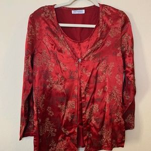 CLEARANCE SALE~Medium Red Blouse Faux Twinset Cute